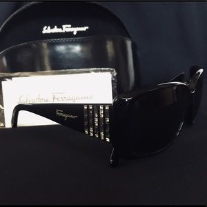Salvatore Ferragamo black sunglasses crystal inlay